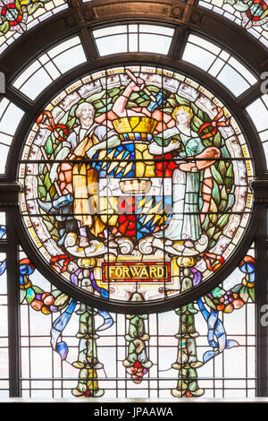 England, West Midlands, Birmingham, Birmingham Museum and Art Gallery, Stained Glass Window depicting Victorian - Stock Photo