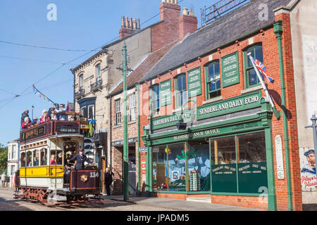 England, County Durham, Beamish Open Air Museum, Historic Tram - Stock Photo