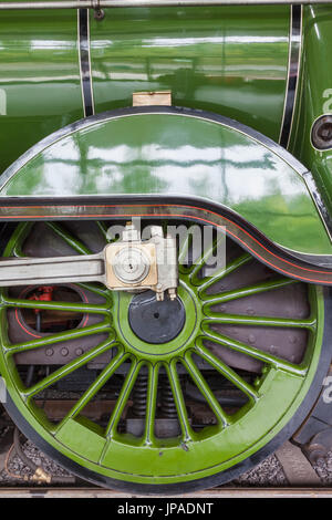 England, County Durham, Shildon, Locomotion National Railway Museum, Steam Train Wheels - Stock Photo