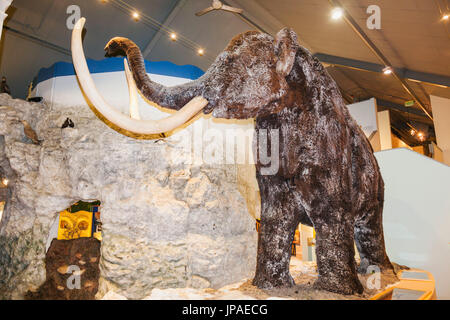 England, East Yorkshire, Kingston upon Hull, Hull and East Riding Museum, Exhibit of Woolly Mammoth - Stock Photo