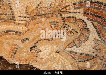 England, Gloucestershire, Cotswolds, Chedworth Roman Villa, Mosaic depicting Loving Couple - Stock Photo