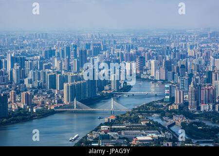 China, Guangdong Province, Guangzhou City, Central Guangzhou skyline, Pearl River - Stock Photo