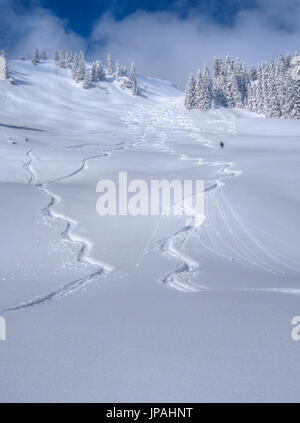 Tracks in the snow, winter sportsperson go from the Lacherspitze. - Stock Photo