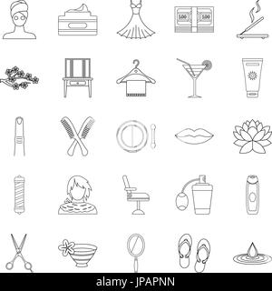 Barbershop icons set, outline style - Stock Photo