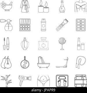 Beauty shop icons set, outline style - Stock Photo