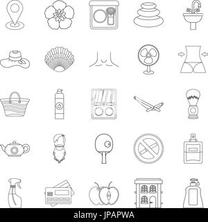 Makeup icons set, outline style - Stock Photo