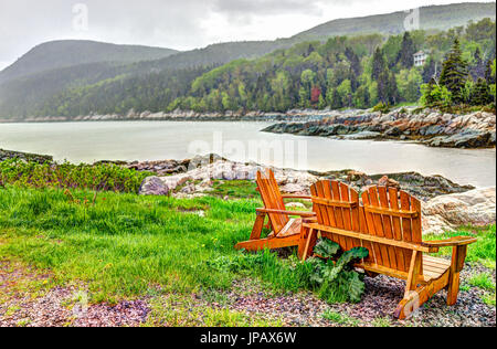 Port-au-Persil beach in Quebec, Canada Charlevoix region during stormy rainy day with Saint Lawrence river - Stock Photo