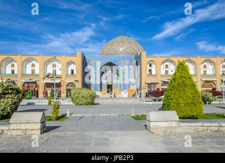 ISFAHAN, IRAN - APR 25, 2015: Sheikh Lotfollah Mosque east of Naqsh-e Jahan Square, Isfahan - one of the UNESCO - Stock Photo