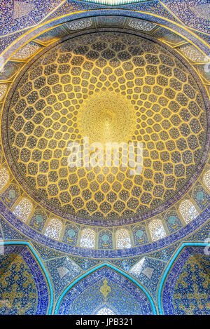 ISFAHAN, IRAN - APRIL 25, 2015: ceiling of Sheikh Lotfollah Mosque east of Naqsh-e Jahan Square - one of the UNESCO - Stock Photo