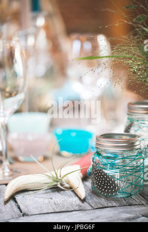 Well-laid table at Indian wedding, decoration - Stock Photo