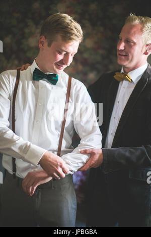 Bridegroom and groomsman, half portrait - Stock Photo