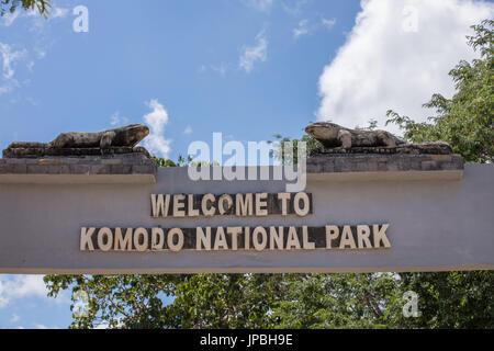 Entrance to the Komodo National Park, dragon, Komodo, wildlife, red list, UNESCO, world heritage, travel, tourism, - Stock Photo
