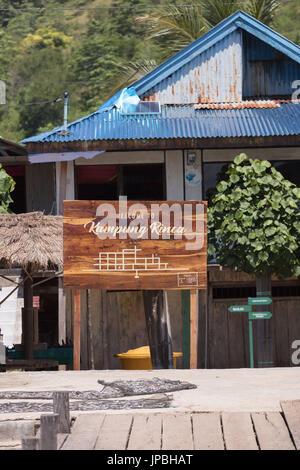 Town plate, entrace to Kampung Rinca, small town on Rinca island, Indonesia, Komodo, UNESCO, world heritage