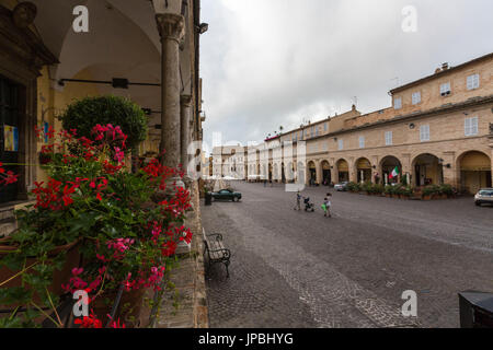 View of the historical buildings and arcades of Piazza del Popolo Fermo Marche Italy Europe - Stock Photo