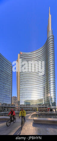 Panorama of the Unicredit Tower the tallest skyscraper in Italy of the new urban area of Porta Nuova Milan Lombardy - Stock Photo