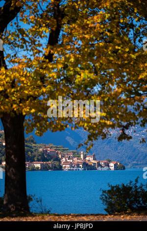 Carzano village in Iseo lake, Brescia province, Italy, Lombardy district, Europe. - Stock Photo