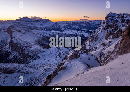 Blue hour in the Eastern Dolomites from Mount Lagazuoi,Cortina d'Ampezzo,Belluno district,Veneto,Italy,Europe - Stock Photo