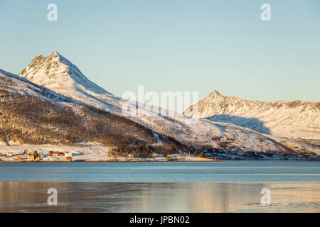 Winter sunset in Senja,Norway,Europe - Stock Photo