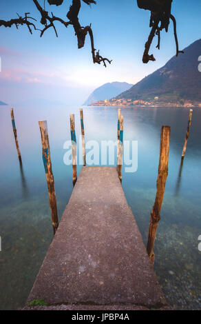 Iseo lake at dawn, province of Brescia, Italy. - Stock Photo
