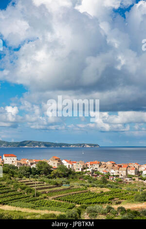 View of Komiza village and its bay (Komiza, Vis, Vis Island, Split-Dalmatia county, Dalmatia region, Croatia, Europe) - Stock Photo
