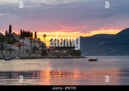 Sunset from Korcula village (Korcula, Korcula Island, Dubrovnik-Neretva county, Dalmatia region, Croatia, Europe) - Stock Photo