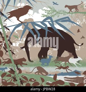 Editable vector illustration of diverse asian wildlife in natural habitat - Stock Photo
