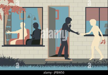 Editable vector illustration of a teenage boy sneaking his girlfriend into his house while his parents are distracted - Stock Photo