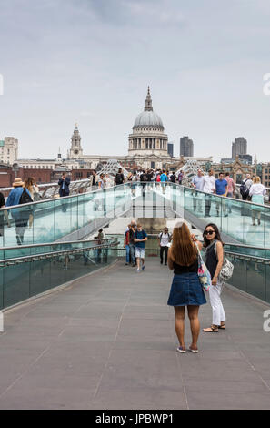 St Paul's Cathedral seen from Millennium Bridge London United Kingdom - Stock Photo