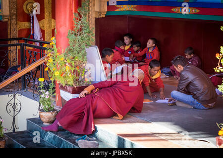 Matho Monastery, Indus Valley, Ladakh, India, Asia. Monks learning in the  monastery school. - Stock Photo