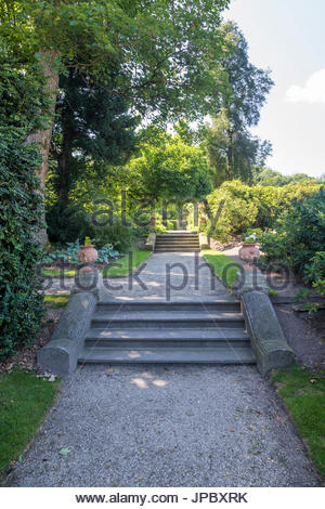 Middachten Castle Water Garden Path With Steps Stately Home Park Trees Hedges Scenic