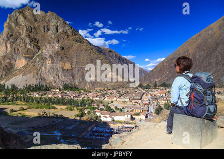 Inca ruins in the city of Ollantaytambo,  Cuzco province, Peru - Stock Photo