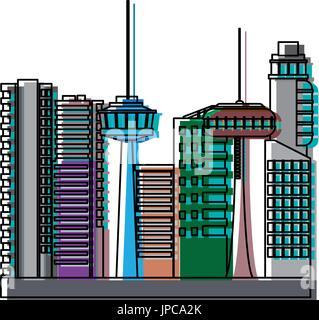 many storeyed urban store buildings modern - Stock Photo