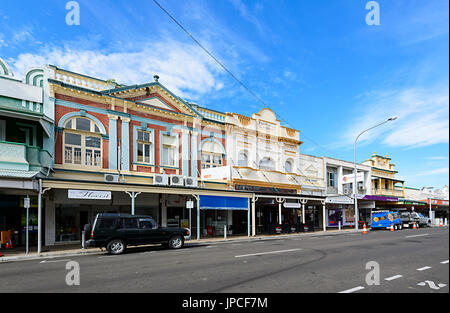 Colonial Buildings in City Centre, Adelaide Street, Maryborough, Queensland, QLD, Australia - Stock Photo