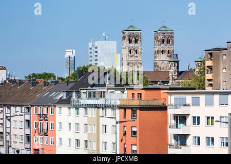 View from the Severins Bridge to Cologne Deutz and the St. Heribert Church in Germany. - Stock Photo