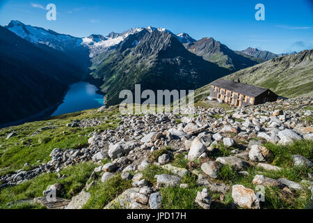 Mountain scenery on the Olperer Runde Tour and Peter Habeler Weg in the Zillertal Alps of Austria seen here at the - Stock Photo