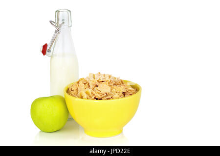 Energy breakfast for diet cereal flakes of corn milk and green apple isolated on white background with copy space - Stock Photo