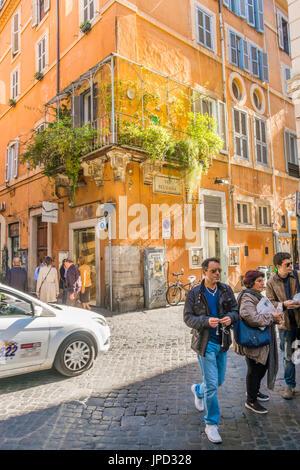 street scene via belsiana in the historic district of rome, lazio, italy