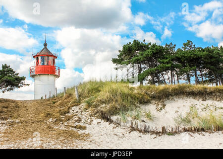 Old lighthouse Gellen on sunny summer day. Hiddensee, Baltic Sea. - Stock Photo