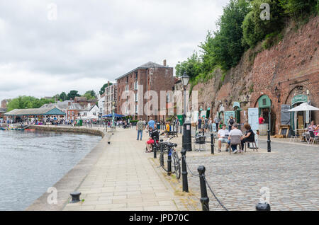 Shops and restaurants on The Quay on the bank of the River Exe in Exeter, Devon - Stock Photo