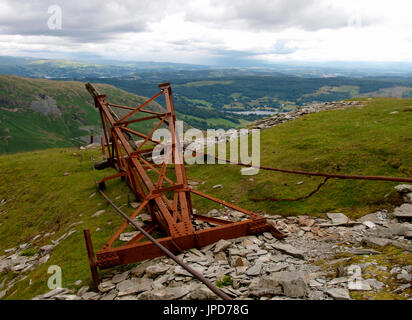 On the fells around Coppermines Valley evidence of the old mining days are scattered around, Coniston, The Lake - Stock Photo