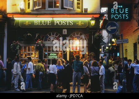 The Blue Posts Pub in the evening, London, UK, Circa 1980's - Stock Photo