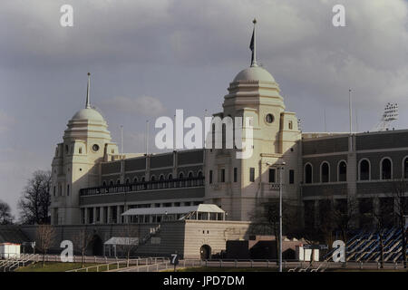 The twin towers of the old Wembley Stadium, London, England, UK - Stock Photo