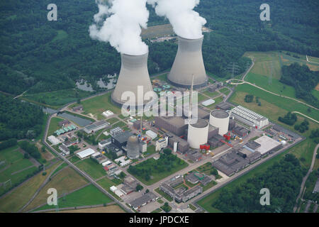 GUNDREMMINGEN NUCLEAR POWER PLANT (aerial view). near the city of Günzburg, Bavaria, Germany. - Stock Photo