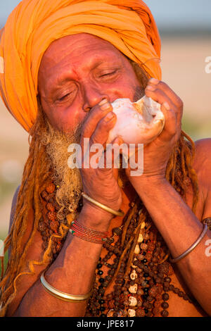 Asia,India,Uttar Pradesh,Varanasi district. Sadhu - Stock Photo