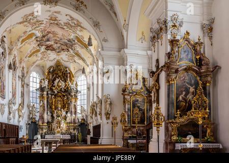 Schongau Oberbayern, Bavaria, Germany, Europe. The Cathedral of Pfarrkirche Mariae Himmelfahrt - Stock Photo