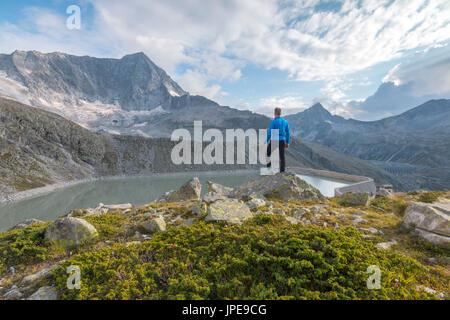 Hicker admire the Adamello Mount. Temù, Val d'Avio (Adamello Park), Brescia province, Lombardy, Italy, Europe - Stock Photo