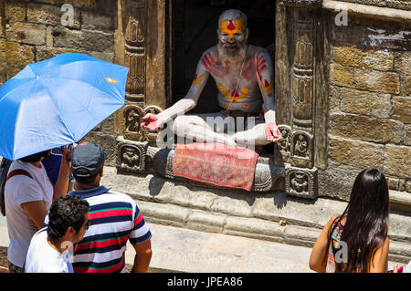 Sadhu in Pashupatinath Temple, Kathmandu, Nepal, Asia - Stock Photo