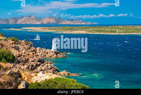 Capo Ferro lighthouse, Porto cervo , Arzachena, Olbia Tempio province, sardinia, italy, europe. - Stock Photo