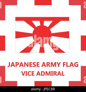 Japanese army flag - Vice admiral - Stock Photo