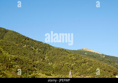 the moon sets over the Pyrenees mountains at Fuerte de Sta Elena (The fort at Santa Elena), Pyrenees Mountains, - Stock Photo